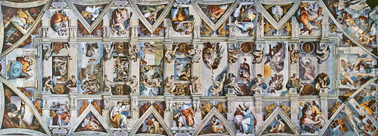On this day in 1512, the ceiling of the Sistine Chapel, painted by Michelangelo, is exhibited to the public for the first time.